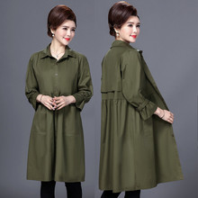 New fashion Autumn Winter Overcoat Women Long Army green Outwear Brief Loose Solid Turn-Down Collar Trench Femme army green loose fit hooded outwear