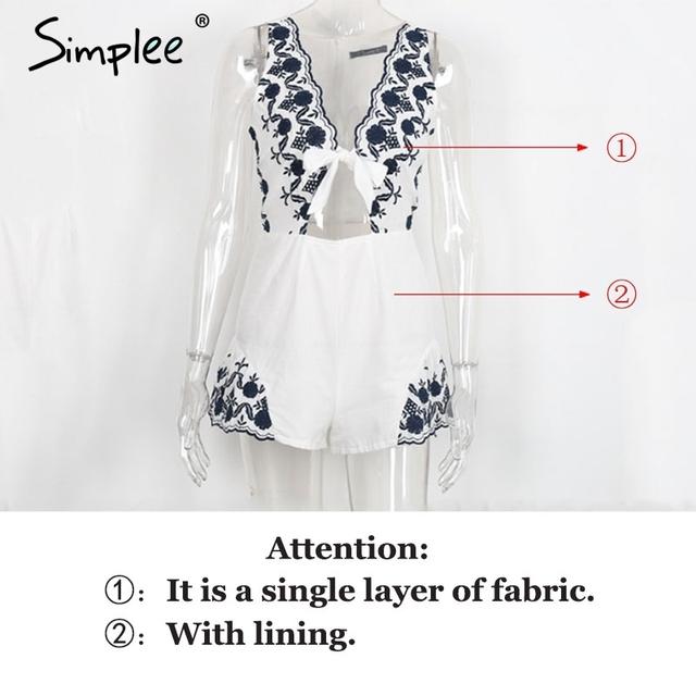 Simplee Elegant v neck floral embroidery jumpsuit