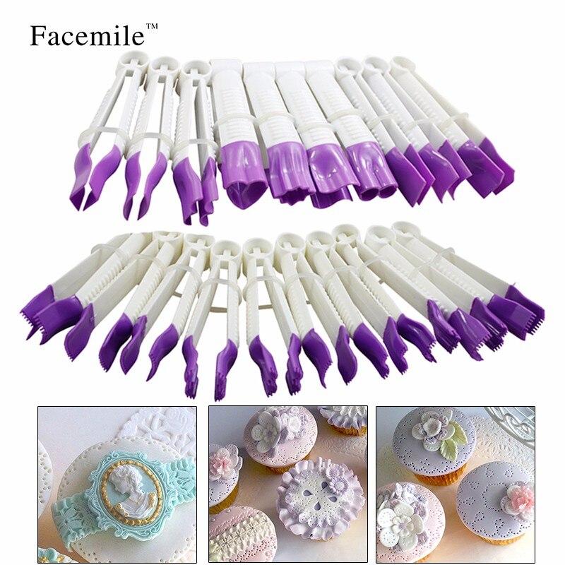 20PCS Serrated Pincher Flower Lace Edge Clip Fondant Biscuit Cutter Decor Sugarcraft Gum Paste Tool Cupcake Kitchen Decoration