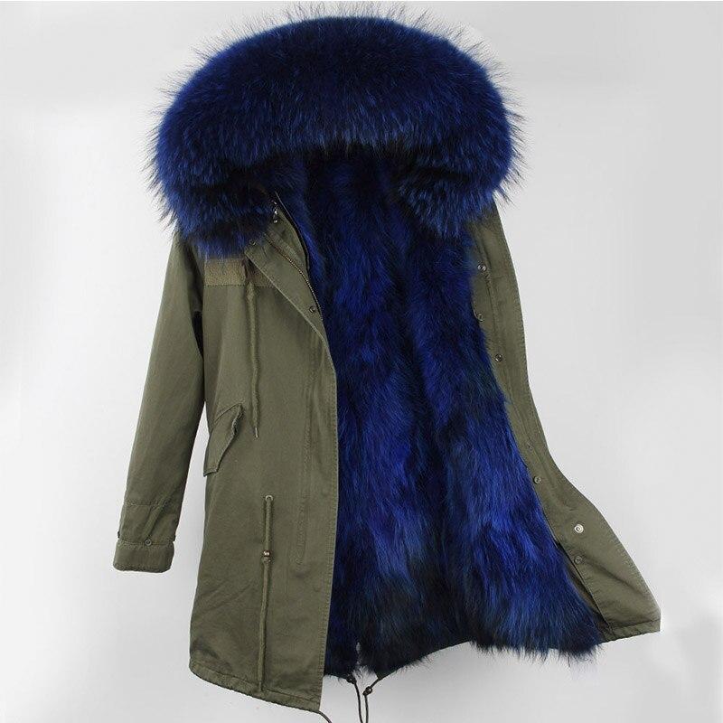 Парка с мехом Зимние Для женщин куртка теплые длинные военные парка Настоящее Рекс Меховая подкладка капюшон пальто из натуральной шерсти