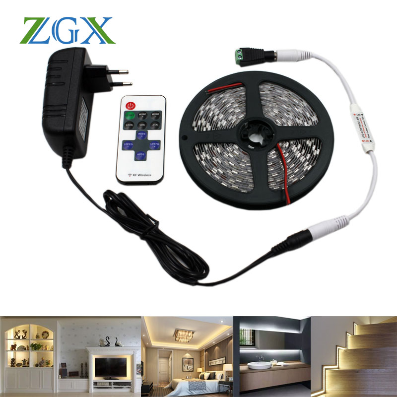 ZGX 5050 LED strip light 60 leds/m Flexible diode ribbon tape Decor indoor outdoor home waterproof Dimmer warm white led lamp