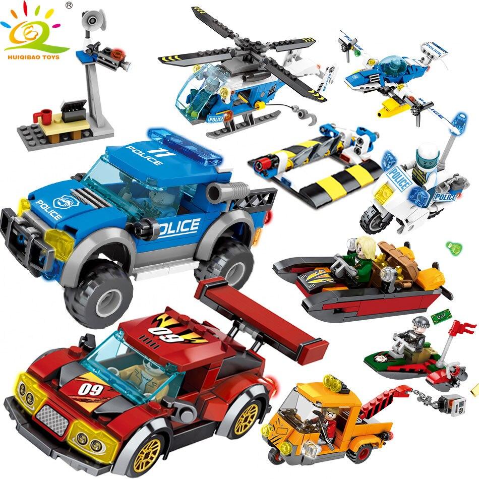 где купить 778pcs Police Series Helicopter Cars Building Blocks Compatible Legoed City Truck Figures bricks Educational toys for Children по лучшей цене