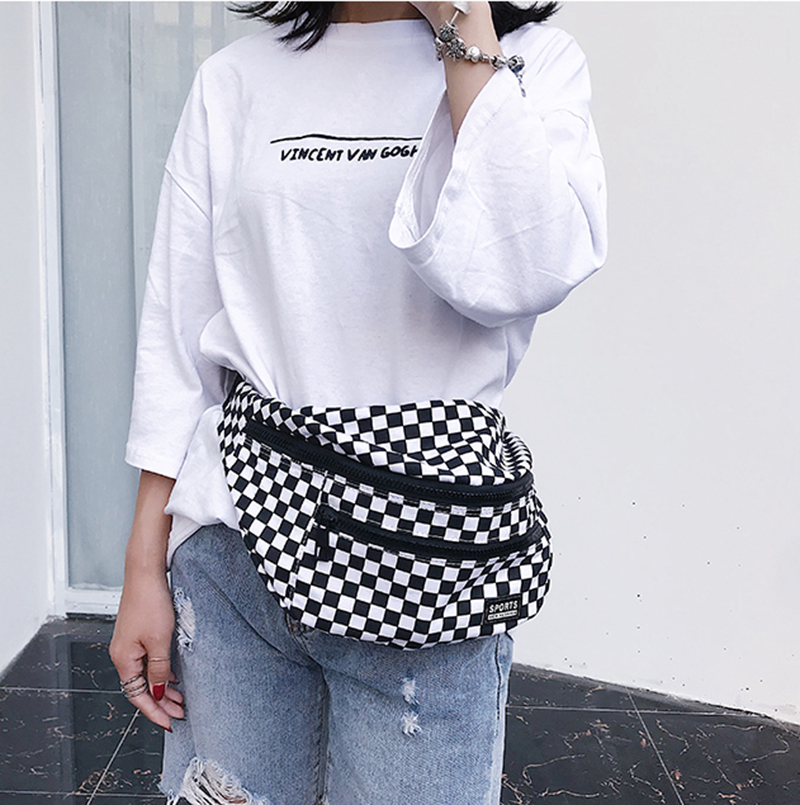 Bag Bum-Bag Checkered Fanny-Pack Waist-Bags Pockets Chest-Belt Banana Large-Capacity