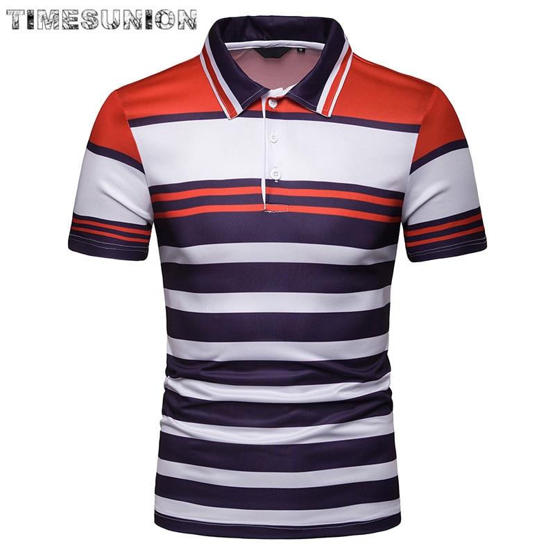 Top Grade 2019 New Fashion Men   Polo   Shirt Stripe Slim Fit   Polo   Men Short Sleeve Mercerized Cotton Casual   Polos   Shirt Mens