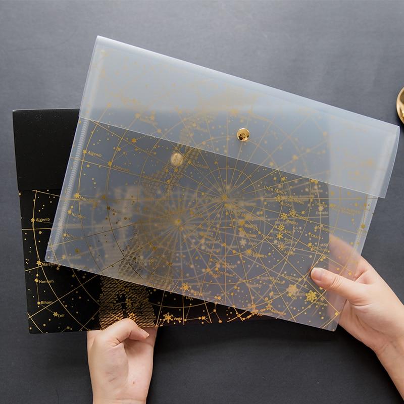 A4 Fantasy Star Storage Bag Bronze Laser Transparent Pocket Pp File Bag Originality Folder School Stationery Support Kawaii Office & School Supplies