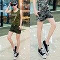 Девушки Мода Повседневная Шорты женщин Летом Army Green Mid Прямо Хлопок Короткие Штаны Дамы Камуфляж Плюс Размер Шорты L