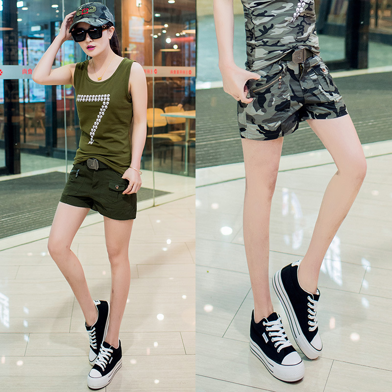 Girls Fashion Casual Cargo Shorts Women's Summer Army Green Mid Straight Cotton Short Pants Ladies Camouflage Plus Size Shorts L