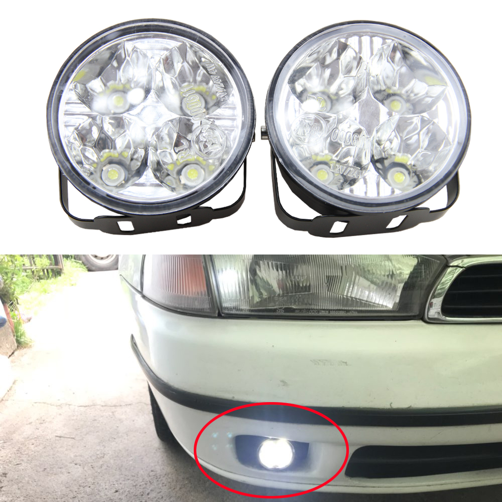 2Pcs Hot New 4LED 4W 12V Car Auto White Round Off road led DRL Daytime Running Lights fog parking lamp warning light car styling 2pcs super bright white 9 led head front round fog light for all car drl off road lamp daytime running lights parking lamp