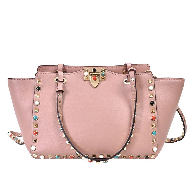LOEIL Leather rivet bag color nail handbag female cowhide bat bag slung shoulder bag wing bag цена