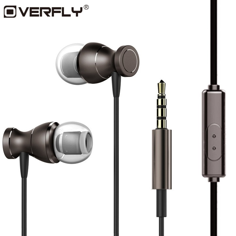 Overfly Stereo Headphones Bass Music Headset 3.5mm Earphone Magnets Sport Earpiece With Mic For Note 7 Samsung iPhone 7 MP3