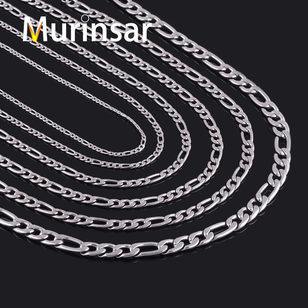 Width 3/4/5/6/7/9/11mm Stainless Steel Figaro Chain High Quality Link Necklace Chain Stainless Steel  Men Jewelry Wholesale