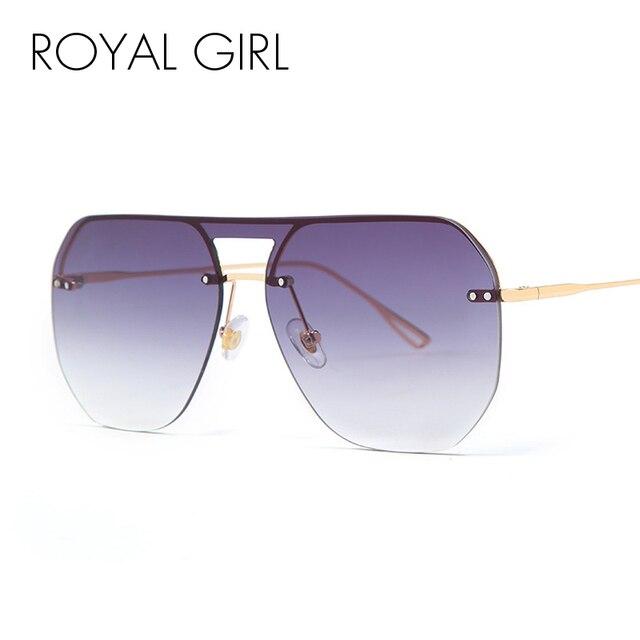 288ac1528b Royal Girl 2019 New Fashion Lady Rimless Square Sunglasses Women Men Vintage  Metal Frame Brand Designer Sun Glasses Female ss274