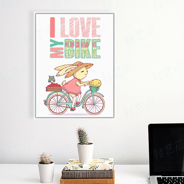 Modern Cute Cartoon Rabbit Animal Drawing Bike Bicycle Quotes Typography A4 Poster Prints Hipster Canvas Painting