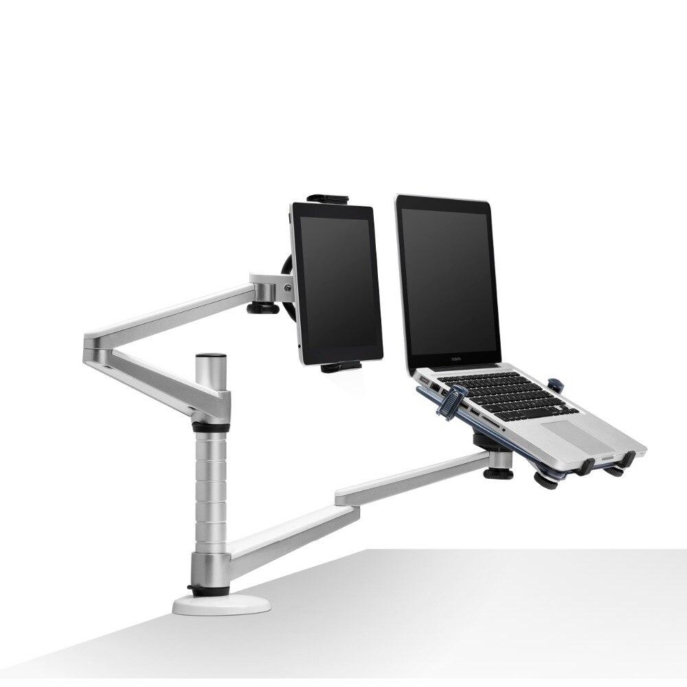 OA 9X デスクトップフルモーションデュアルアームラップトップ + タブレット PC スタンド回転ホルダーノートブック 10 15 インチとすべてのタブレット Pc 7 10 インチ  グループ上の パソコン & オフィス からの モニターホルダー の中 2