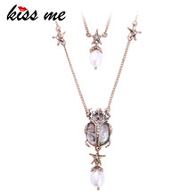 KISS ME Crystal Resin Cultured Pearl Beetle Insect Pendant Necklace Double Layers Necklaces for Women Brand Jewelry(China)