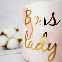 KHTO Gold Monogram Natural Marble Porcelain Coffee Mug/Boss Lady Mugs