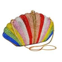 Stilvolle Bunte Diamant Abendtasche Pochette Soiree Frauen Sac Regenbogen Damen Tageskupplungen Strass Kupplung Bankett Tasche 88214