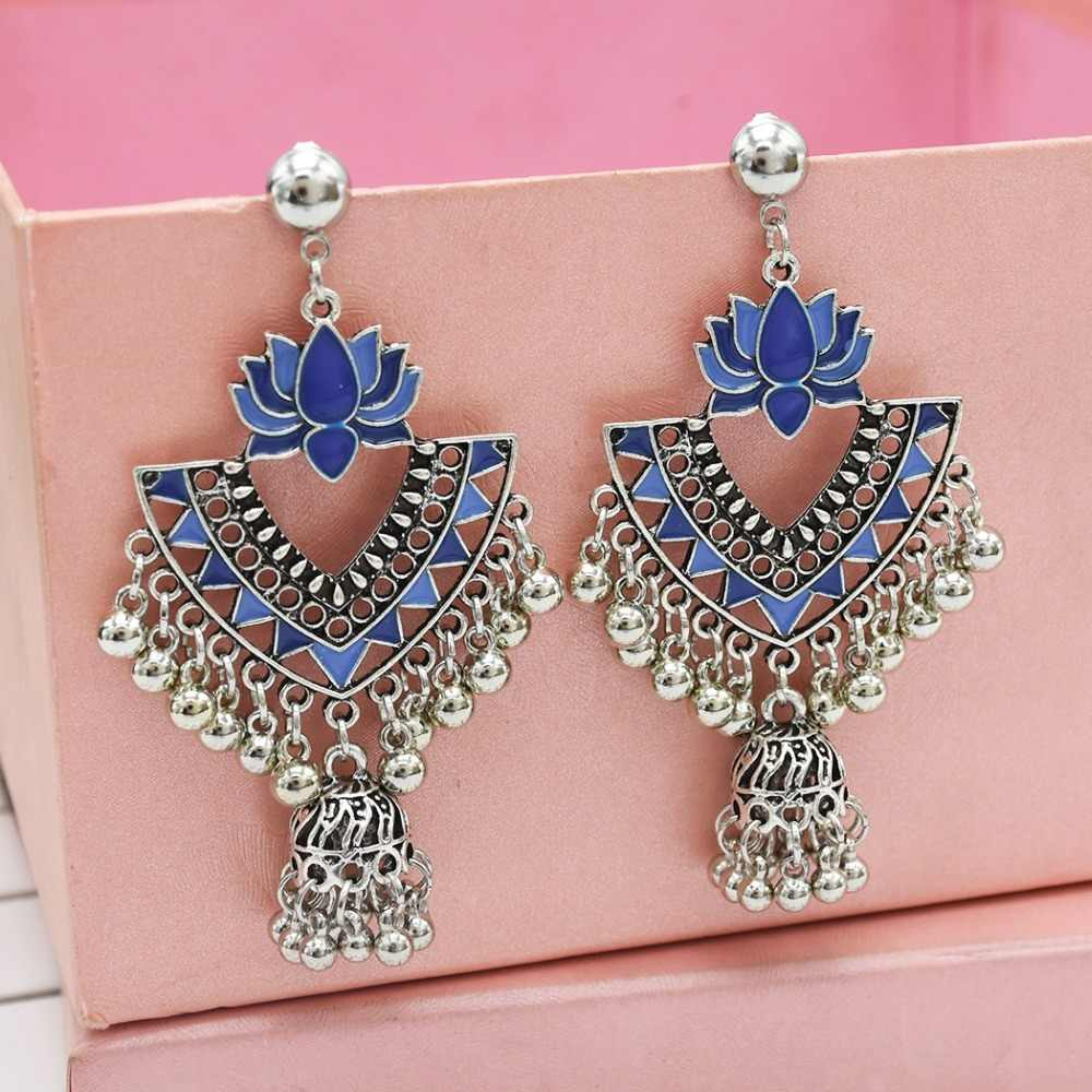 5eaa26d1d ... Ethnic Retro Silver Metal Bells Tassel Jhumka Earrings for Women Boho  Hippie Flower Wedding Party Thailand