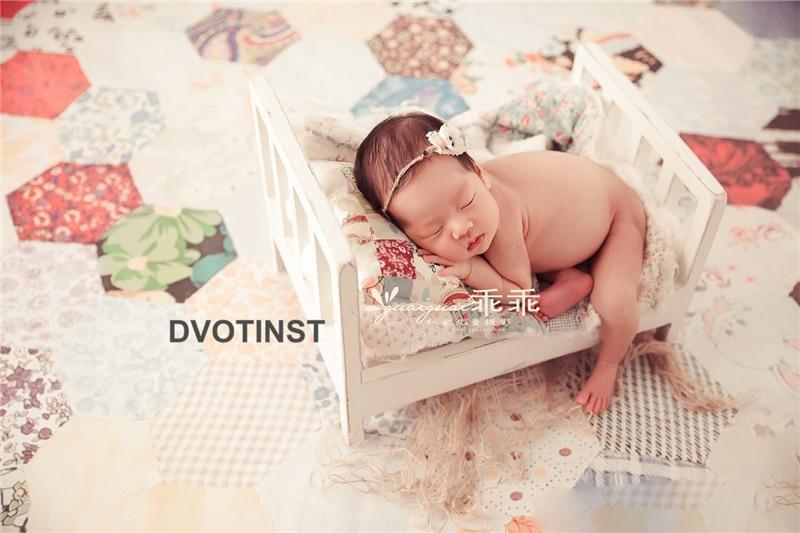 Dvotinst Newborn Photography Props Solid Baby Retro Wooden Posing Bed Fotografia Accessories Infant Studio Shooting Photo Props
