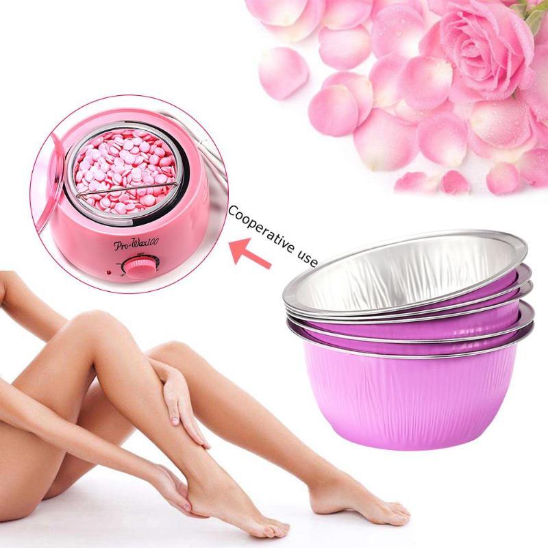 5pcs/10pcs Pink Round Shape Melting Wax Bowls Aluminum Foil Depilatory Hair Removal Bean Depilatory Cream Bowl Hair Removal Tool