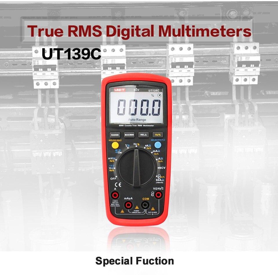 UNI-T UT139C Auto Gamma Multimetro Digitale A Vero RMS Meter Handheld Tester 6000 Count Voltmetro Temperatura di Prova transistor