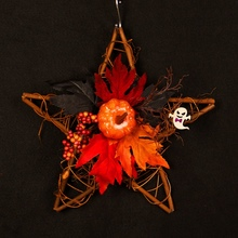 Halloween Decoration Star-Shaped Wooden Frame Artificial Flowers Garland Accessories Wreath Hanging Festival Props Scene Layout