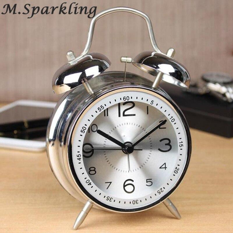 34d0a02c357 4.5 polegadas Grande Criativo 11.5 cm de Metal Duplo Alarme Sino Gêmeo relógio  Silenciosa Não Ticking