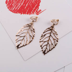 2018 Big Vintage leave Clip Earrings for Women Fashion Hollow Alloy Trendy Bohemian Female Brincos Boho Eardrop Earrings