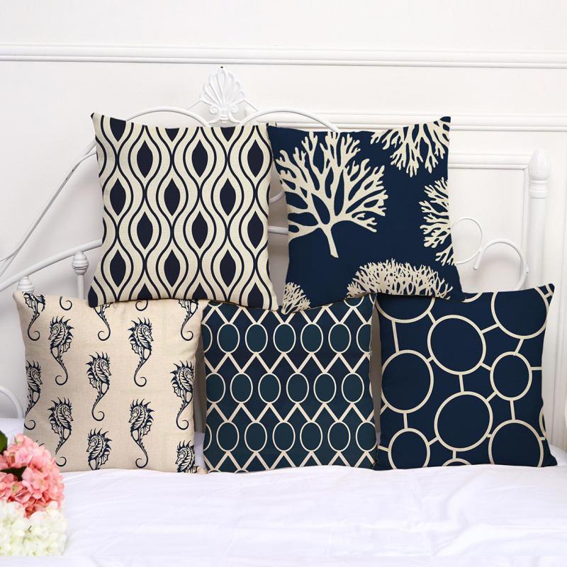 Free Shipping Custom Dark Blue Geometric Printing Cotton Linen Decorative  Pillow Office Chair Seat Lumbar Cushion