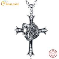 Vintage Punk Jewelry Men S Cool Lion Head Cross 925 Sterling Silver Necklace Men Pendant Collar