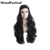 WoodFestival Blonde Black Silver Cosplay Wig Long Curly Synthetic Wigs With Braids Halloween Costume Party Women