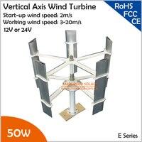 260r/m 50 W 12 V o 24 V 5 cuchillas Mini Turbina Eólica de Eje Vertical, área de barrido 0.42sqm Max 75 W generador de viento pequeño molino de viento