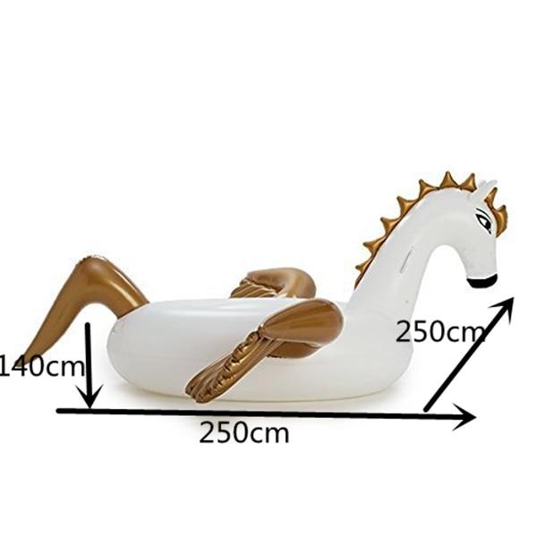 ФОТО 5pcs/lot  250cm 98 inch Giant Inflatable Rainbow Unicorn Water Pool Floats White Pegasus Float Swimming Air Mattress Bed