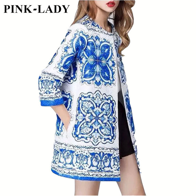 Alta Calidad!! 2016 Capa Del Resorte prendas de Vestir Exteriores de Las Mujeres de Moda Elegante Estampado de Flores Blanco Azul Jacquard Étnico Gabardina
