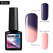 BUKAKI 1pcs Long Lasting Temperature Change UV Gel Glitter Gel Nail Polish Soak Off Mood Change Chameleon Gel Nail Varnish