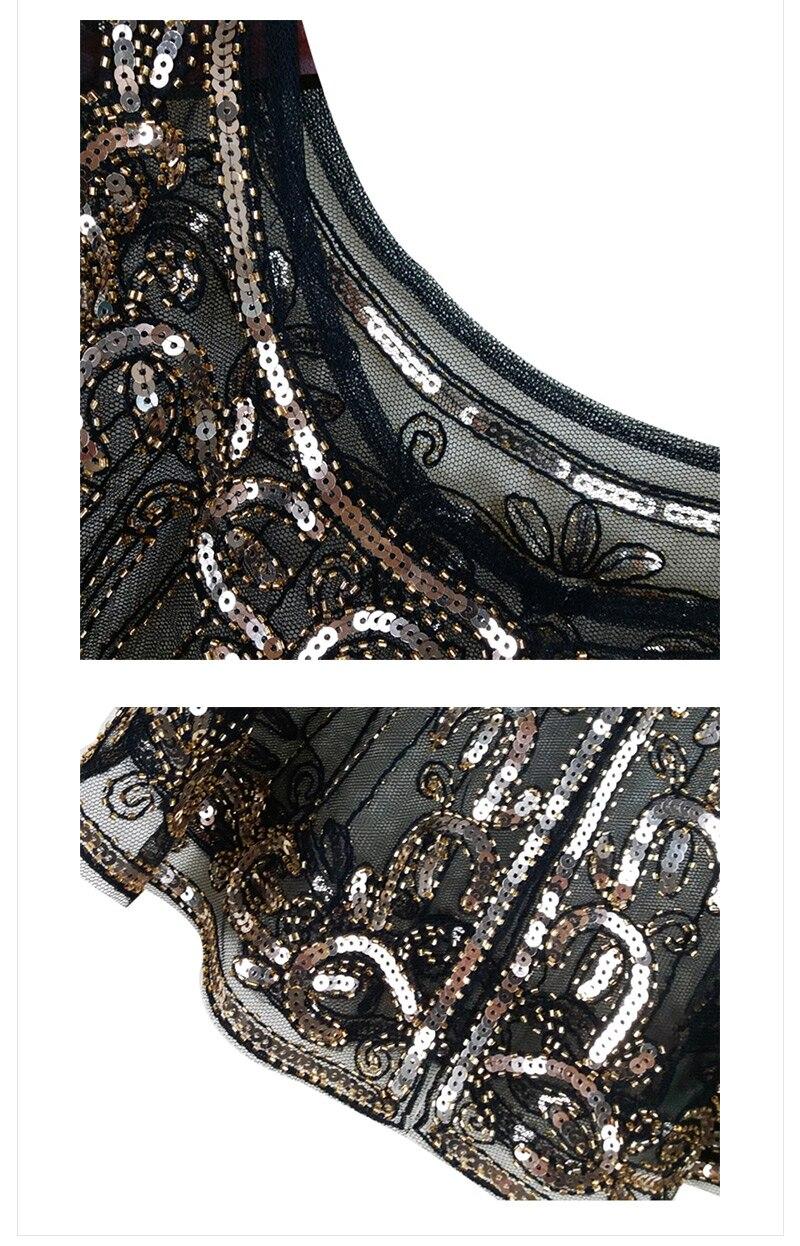 Vintage Style Black Deco Floral Beaded Capelet (4)