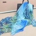 Peacesky 076 Марка дизайн 2015 женская мода Градиент цветок шарф Пляж Большие шелковые шарфы палантины дамы мягкие теплые платки