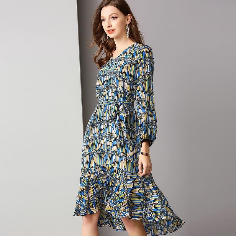 619a942ee99 2019 V Manches Marque Col Robe Style Longues Femmes En Top Vintage Qualité  Soie Ceintures Imprimé Géométrique À Printemps ...