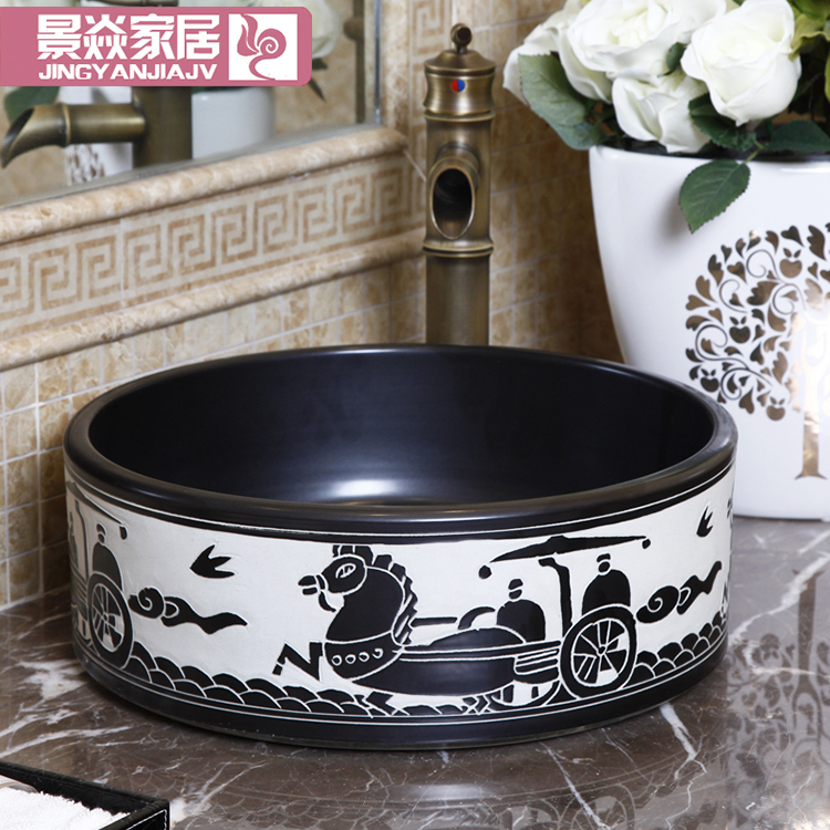 все цены на Oriental Art hand carved ceramic porcelain wash basin bathroom sink