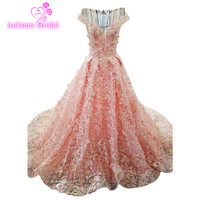New Luxury Evening Dress High end Banquet Pink Lace Embroidery Appliques Prom Party Gown Custom Made Formal Dresses Prom Dresses