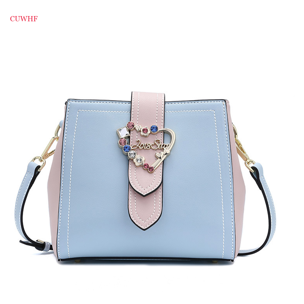 CUWHGF Autumn and winter new Women Shoulder Bags Fashion Shoulder Bag Women Contrast diamond Crossbody Bucket bag Lady bags contrast lace open shoulder tee