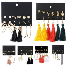 New Hot 14 Style Tassel Drop Earrings Set For Women Girl 2019 Bohemian Gold Flower Long Earring Female Fashion Wedding Jewelry bfh fashion charm large circle tassel drop earrings for women girl wedding party bohemian long earring jewelry gift wholesale