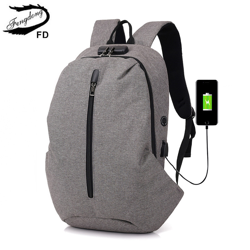 FengDong male usb backpack anti theft bag password lock fashion school backpack for men travel bags new 2018 boys school bags men backpack anti theft multifunctional oxford fashion college student school backpack password lock laptop computer bag
