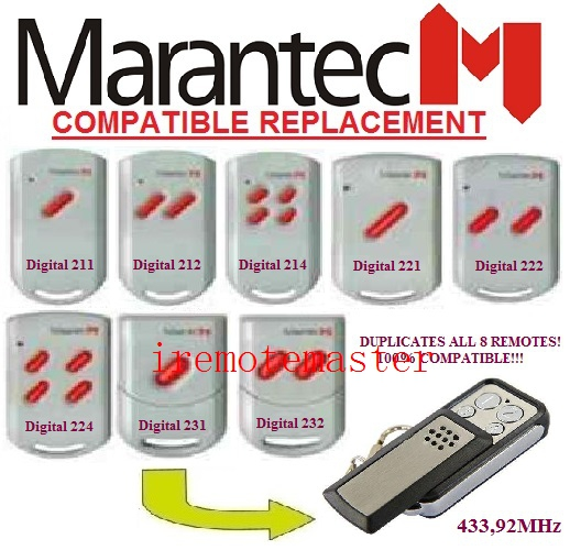MARANTEC digital 211/212/214/221/222/224/231/232 remote control replacement 433mhz free shipping 100% compatible
