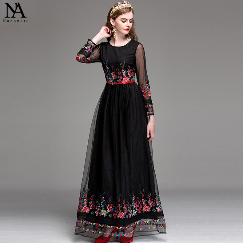New Arrial 2018 Womens O Neck Long Sleeves Embroidery Floor Length Prom Elegant Runway Dresses in 2 Colors