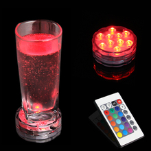 RGB 10 Led Submersible Light Battery Operated Waterproof Swimming Pool