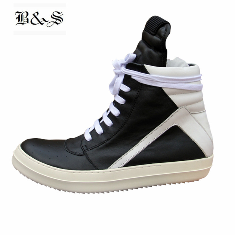 Black& Street Men High-TOP Ankle Boots Genuine Leather Hip Hop Luxury Trainers Boots Casual Lace-up Zip Flat Black White Shoes new men casual shoes soft leather men high top shoes fashion lace up breathable hip hop justin kanye west shoes red black white