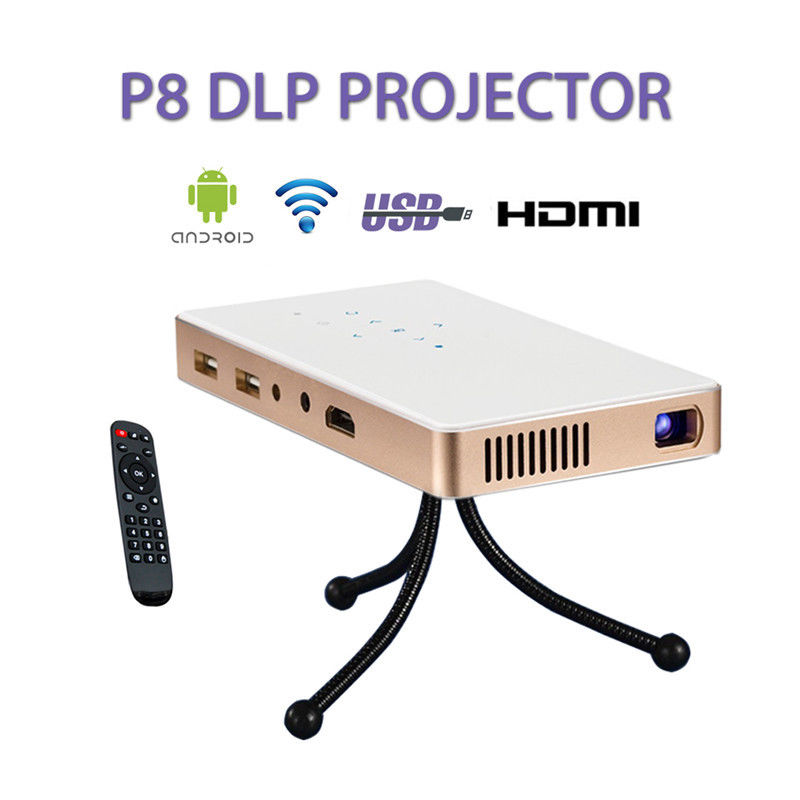P8 Portable Projector LED Mini Home Multimedia Theater WIFI Android 4.4 TF USB HDMI Projctor Free shipping