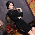TIC-TEC chinese traditional dress women cheongsam short qipao vintage elegant corduroy oriental dresses party clothes P3133