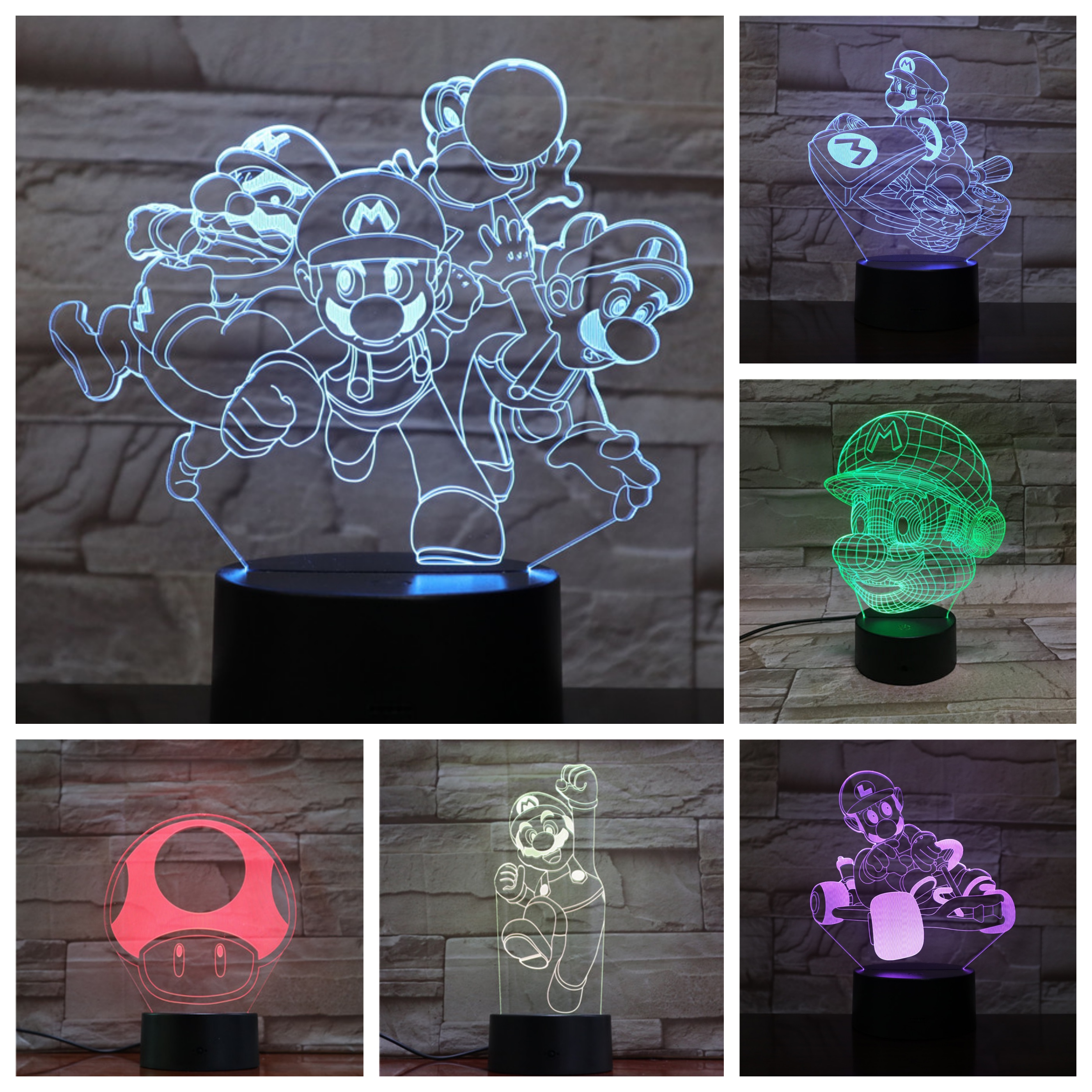 Game Super Mario Bros Action Figure Night Light LED 3D Bedroom Decorative Lamp Child Kids Baby Gift Nightlight Desk Lamp Decor